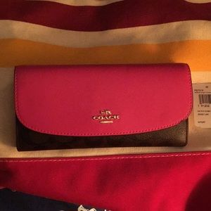 Coach wallet women's pink and brown